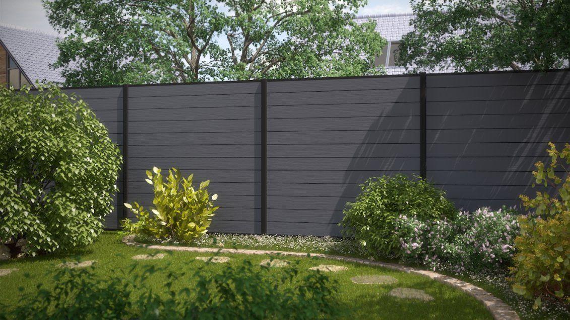 2 Zaundesign  Garten  System Wpc  Grau Und Anthrazit von Sichtschutz Garten Kunststoff Grau Photo