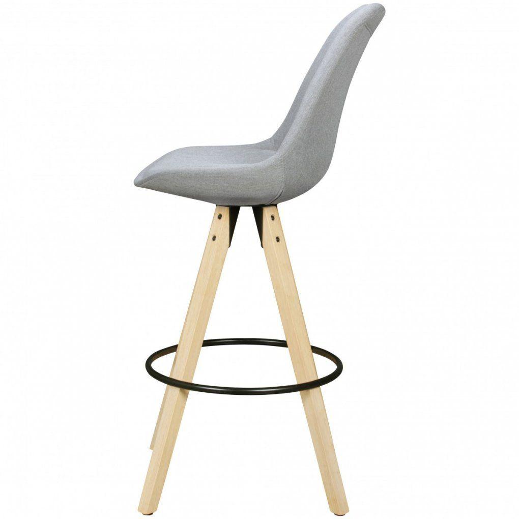 2Er Set Barhocker Lima Grau Retro Design Stoff Holz Mit Lehne von Barhocker Grau Mit Lehne Bild