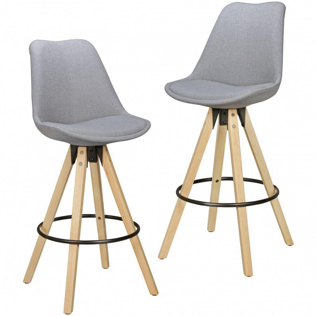2Er Set Barhocker Lima Grau Retro Design Stoff Holz Mit Lehne von Barhocker Grau Mit Lehne Photo