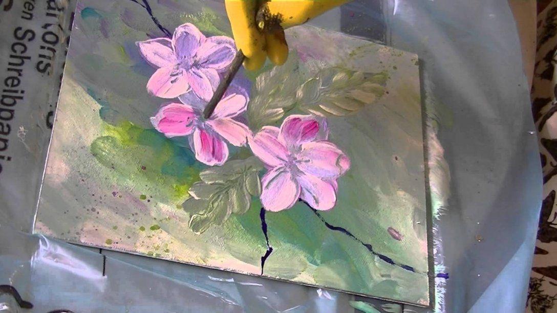 Acrylmalerei Für Anfänger Apfelblüten Acrylic Painting For Beginners von Acrylbilder Für Anfänger Anleitung Bild
