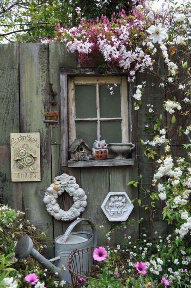 Altefensterdekogartenholzzauncountrystil  Garten  Pinterest von Dekoration Mit Alten Fenstern Bild