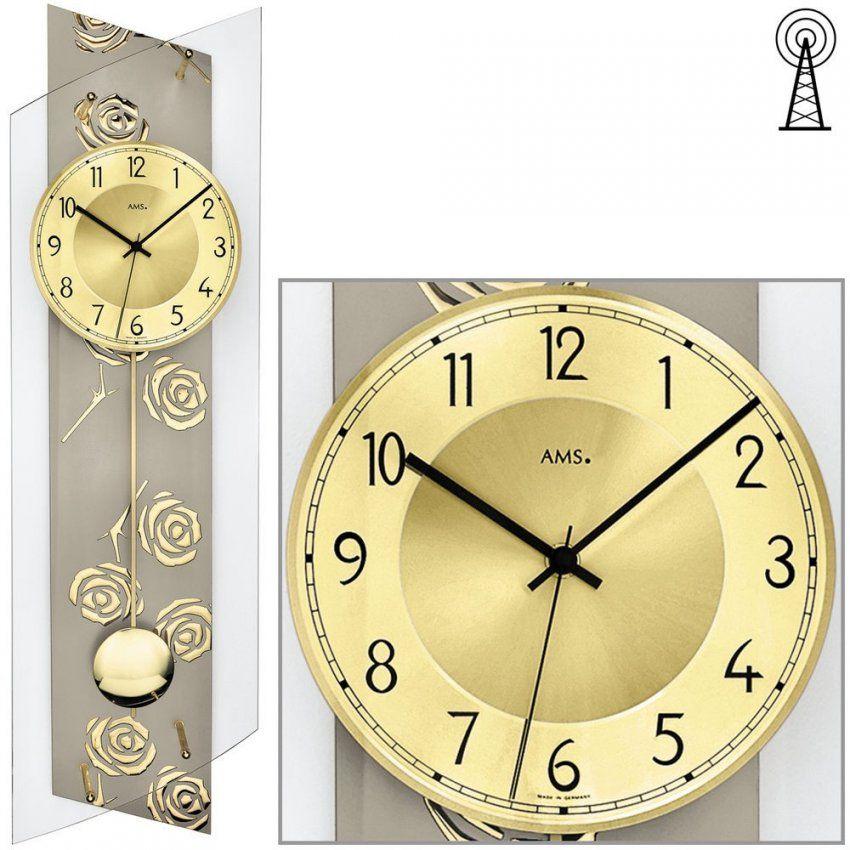 Ams 5223 Funk Pendel Uhr Glas Rosen Gold 24X84M von Funk Wanduhren Mit Pendel Photo
