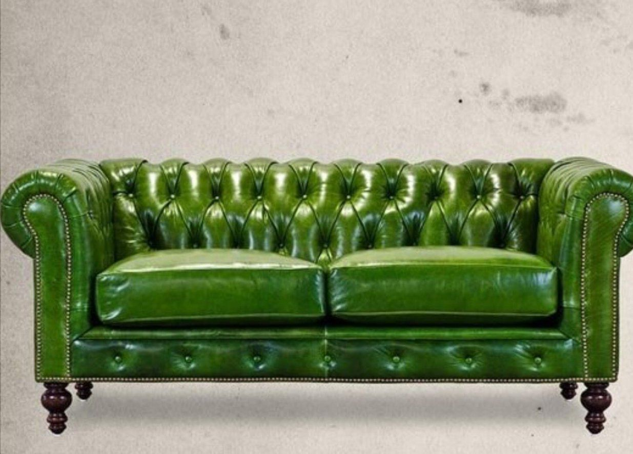 Apple Green Chesterfield Sofa  Interior Design Furniture Objects von Green Leather Chesterfield Sofa Bild