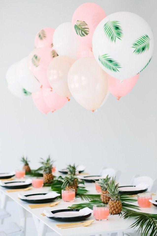 Auffallende Tischdeko Mit Decoupage Luftballons Ananasfrüchten Und von Deko Ideen 30 Geburtstag Bild