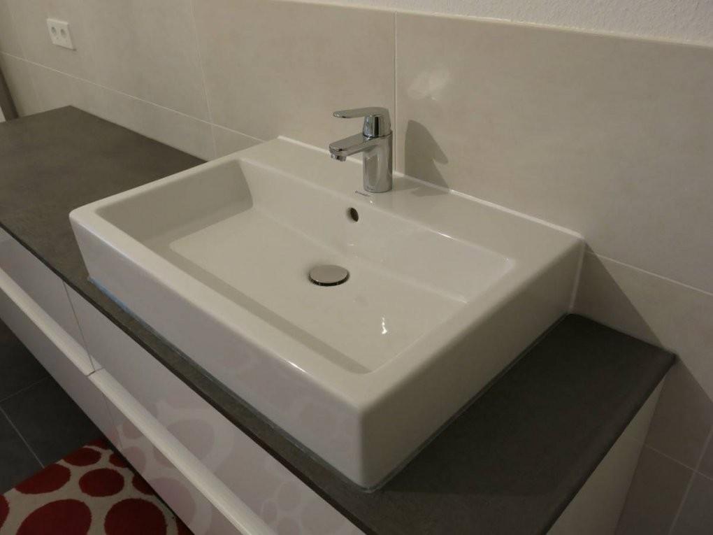 Bad Waschtisch Und Diy Konsole Mit Beton Ciré Und Ikea Godmorgon Von von Godmorgon Waschbeckenschrank Mit Anderen Waschbecken Bild