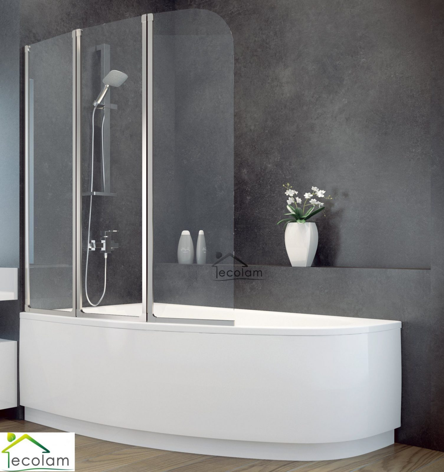 Badewanne + Badewannenabtrennung Duschwand Glas Eckwanne Eckig 140 X von Duschwand Glas Für Badewanne Bild