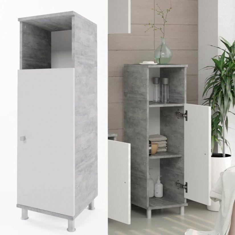 Badezimmer  Badschrank Fynn Weis Grau Beton Midischrank Real von Badezimmerschrank Schmal Und Hoch Photo