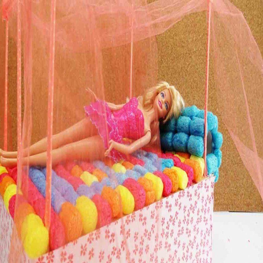 Barbie Bett Basteln Diy Himmelbett Selber Machen Youtube Durchgehend von Barbie Bett Selber Bauen Bild