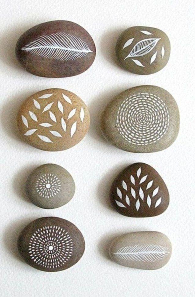 Bastelideen Bemalte Steine Natur Motive Feder Und Blätter  Diy von Deko Ideen Mit Steinen Im Garten Bild