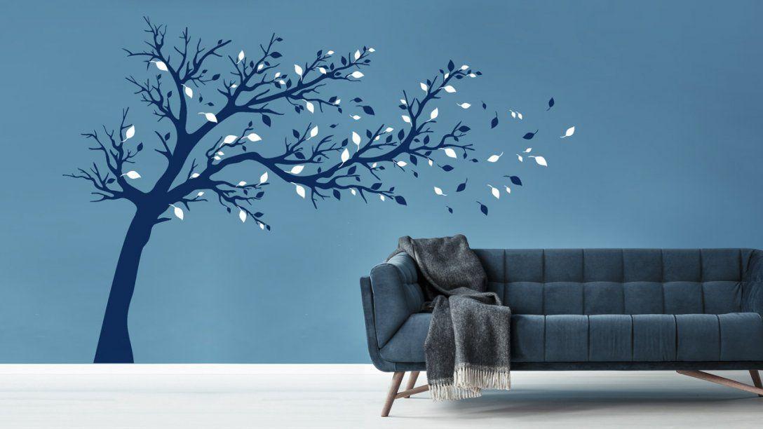 Bäume An Der Wand  Dekoration Mit Wandtattoos  Dekoration von Wandtattoo Baum Im Wind Bild