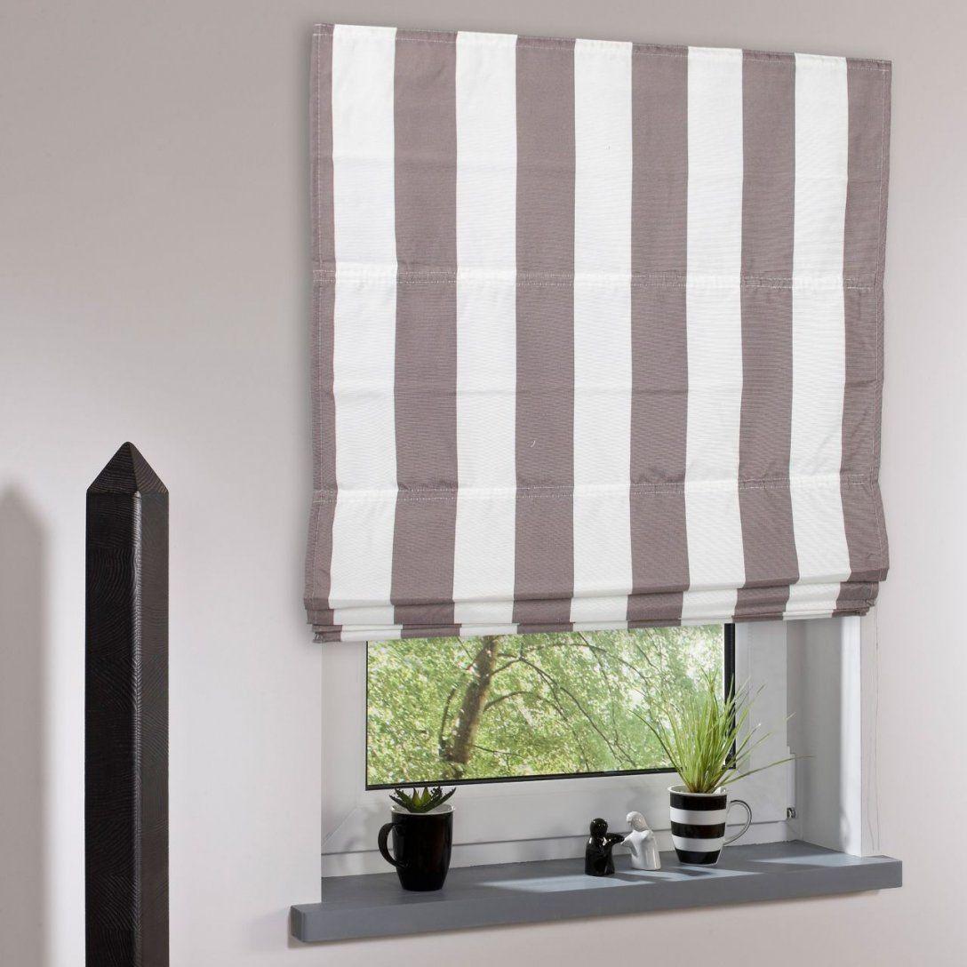 Bella Casa Raffrollo Raffvorhang Streifen Weißhellbraun 190 X 100 von Raffrollo Schwarz Weiß Gestreift Bild