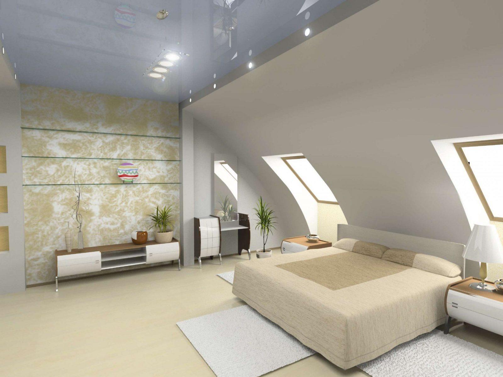 Bett Platzieren  Dachschräge Im Schlafzimmer von Tapeten Schlafzimmer Mit Schräge Bild