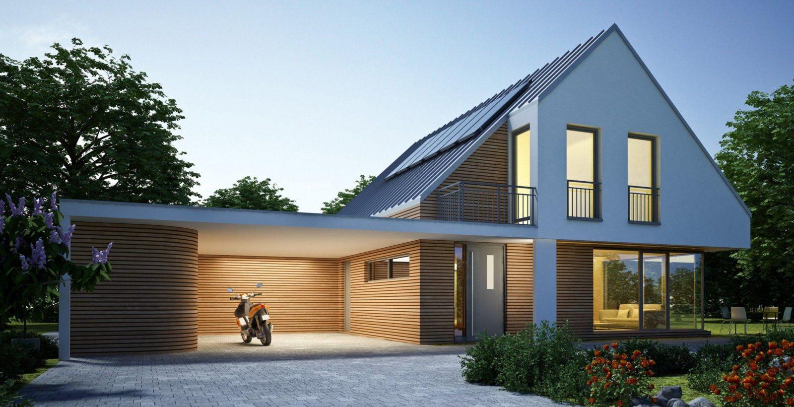 Bildergebnis Für Haus Mit Carport  Gartengestaltung von Carport Am Haus Modern Bild