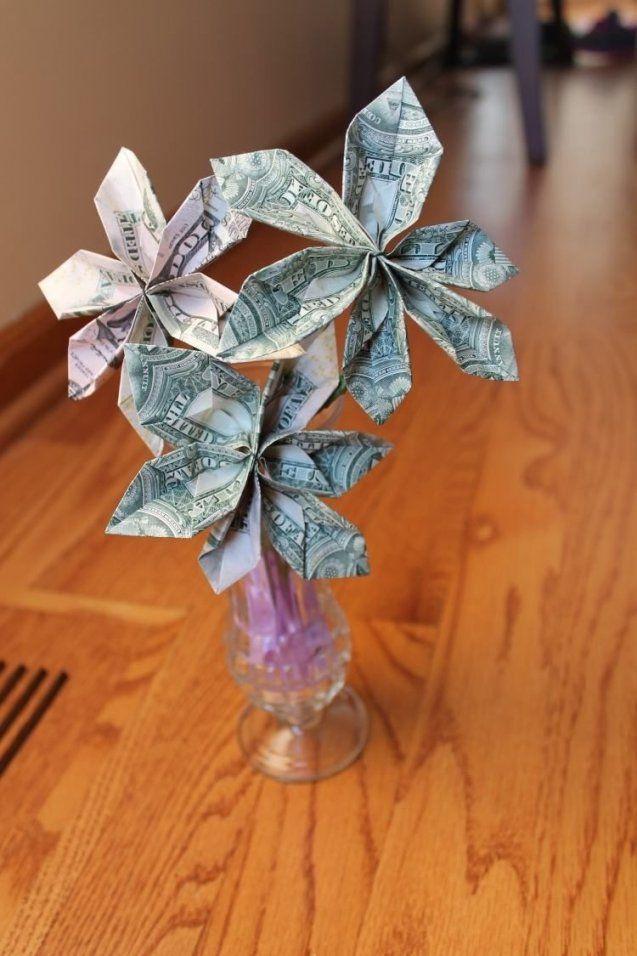 Blumen In Vase  Aber Welche Aus Geldscheine  Geldgeschenke von Geldgeschenk Blume Im Topf Bild