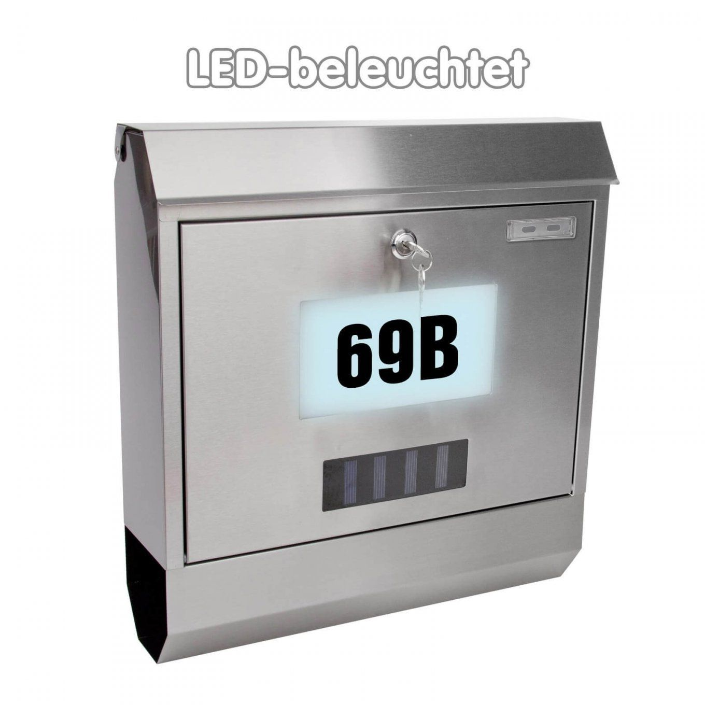Briefkasten Solar Led Mit Zeitungsrolle  Hausnummerbeleuchtung von Edelstahl Briefkasten Mit Hausnummer Photo