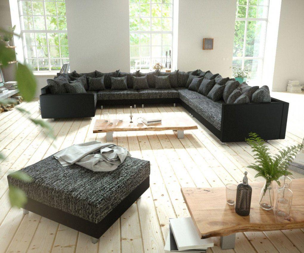 Couch Clovis Xxl Schwarz Hocker Armlehne Ottomane Rechts von Xxl Wohnlandschaft Leder Ottomane Bild