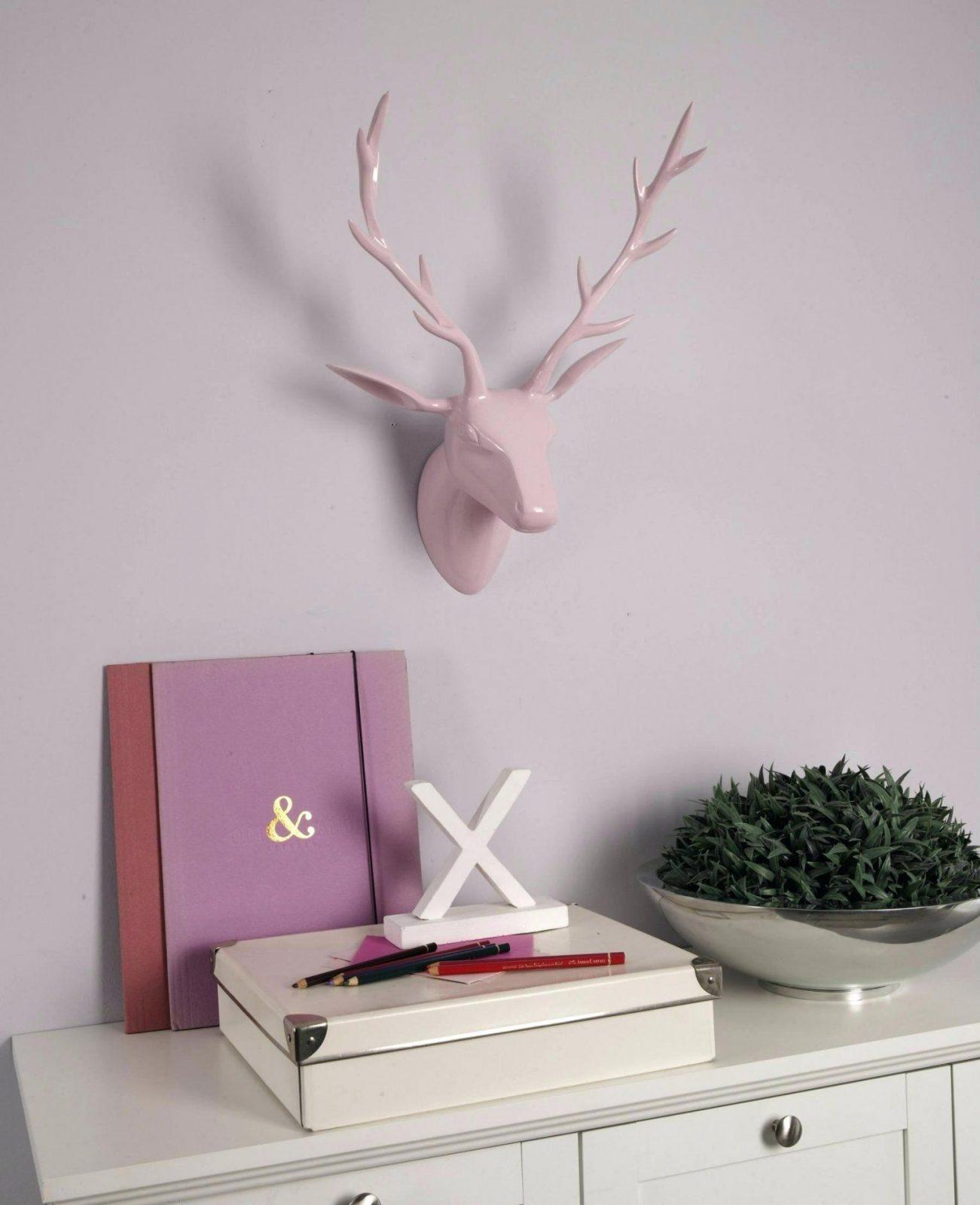 Deko Weihnachten Geweih Hirschkopf Rosa Poliert Hirschgeweih Figur von Geweih Deko Selber Machen Bild