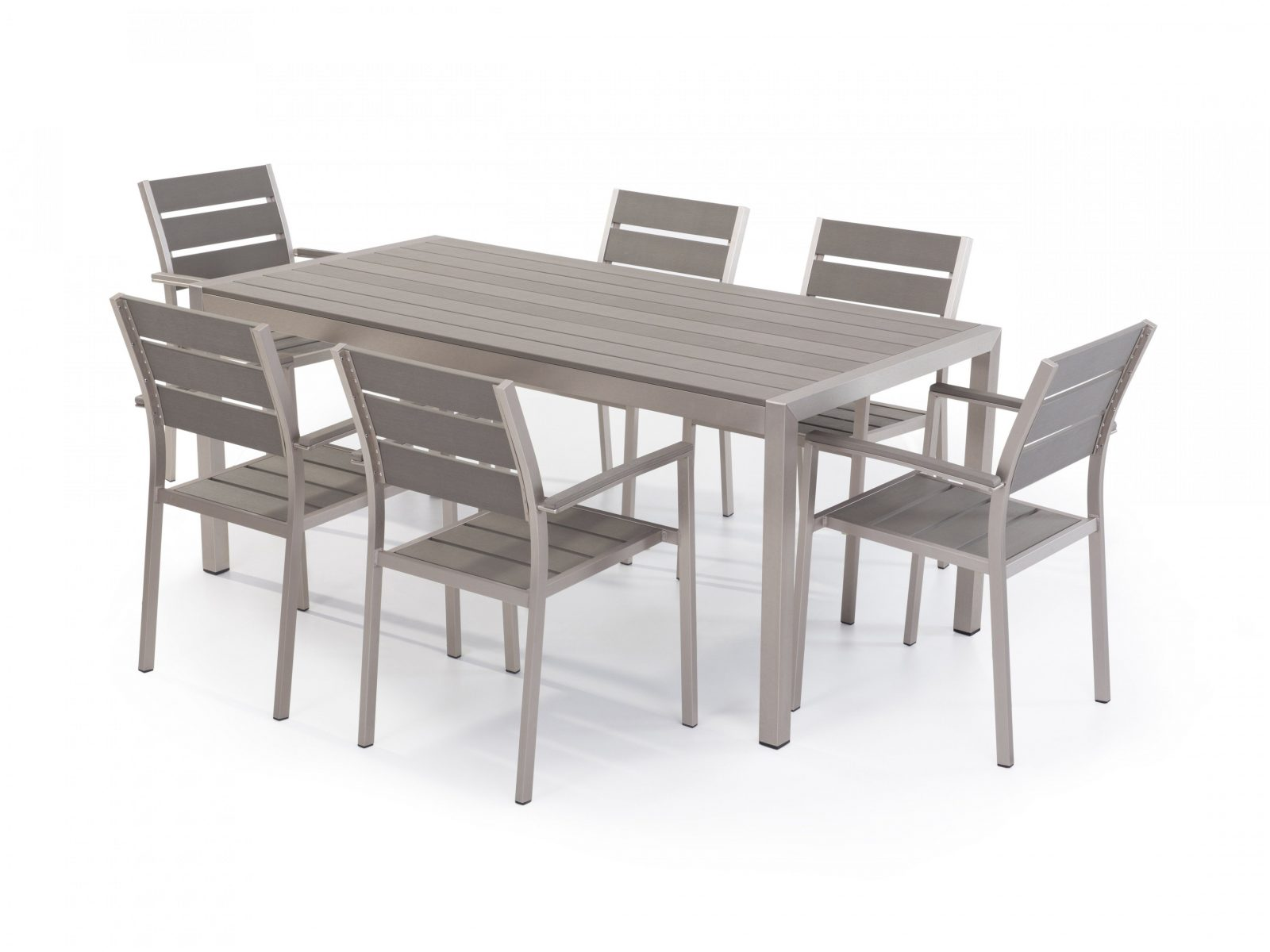 Design Gartenmöbel Aluminium Gartenmöbel Set Grau  Tisch 180Cm  6 von Gartentisch Mit 6 Stühlen Photo