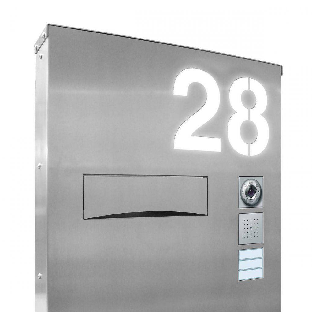 Design Led Edelstahl Briefkastensäule Beleuchtet  Thorwa Metalldesign von Edelstahl Briefkasten Mit Hausnummer Photo