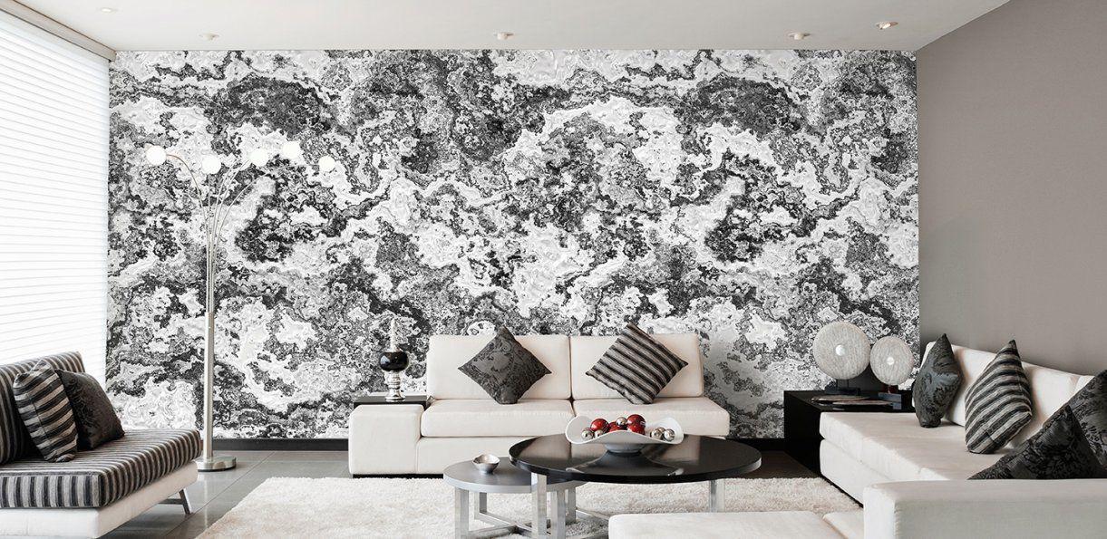 Designtapeten In Silber Grau Schwarzweiß Von Wandgestaltung Mit Tapeten  Wohnzimmer Photo