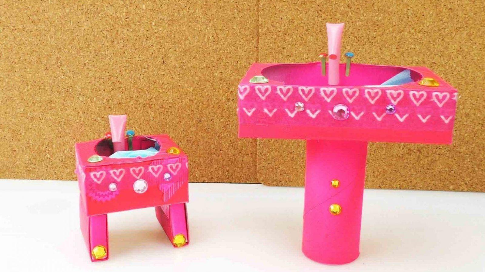 Diy Barbie  Waschbecken Selber Machen  Youtube von Barbie Bett Selber Bauen Bild