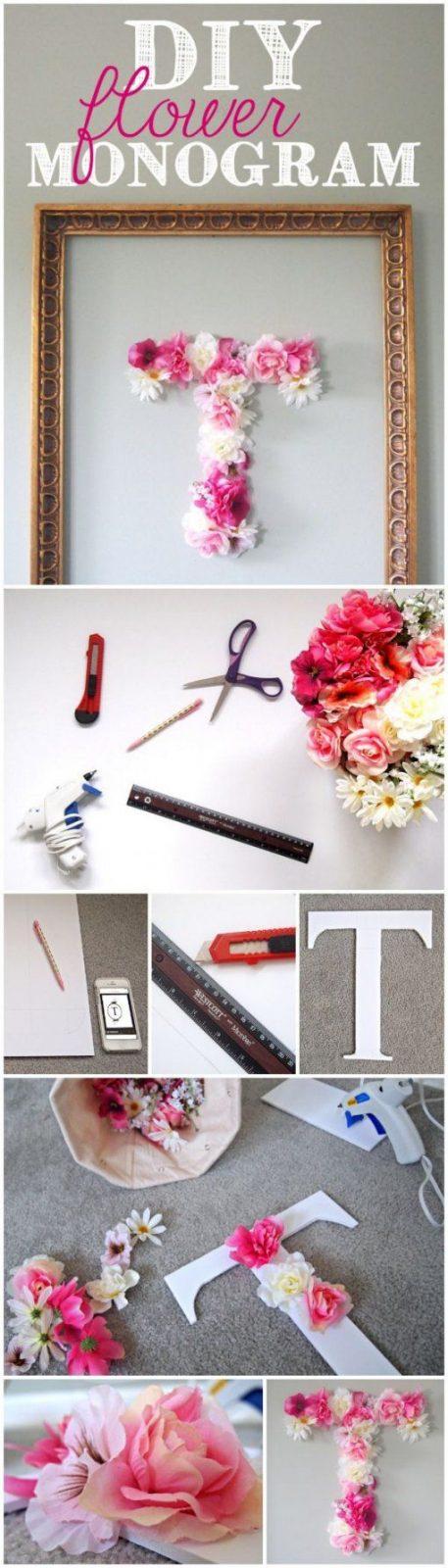 Diy Faux Flower Monogram  Wanddeko Buchstaben Und Blumen von Buchstaben Kinderzimmer Selber Machen Bild