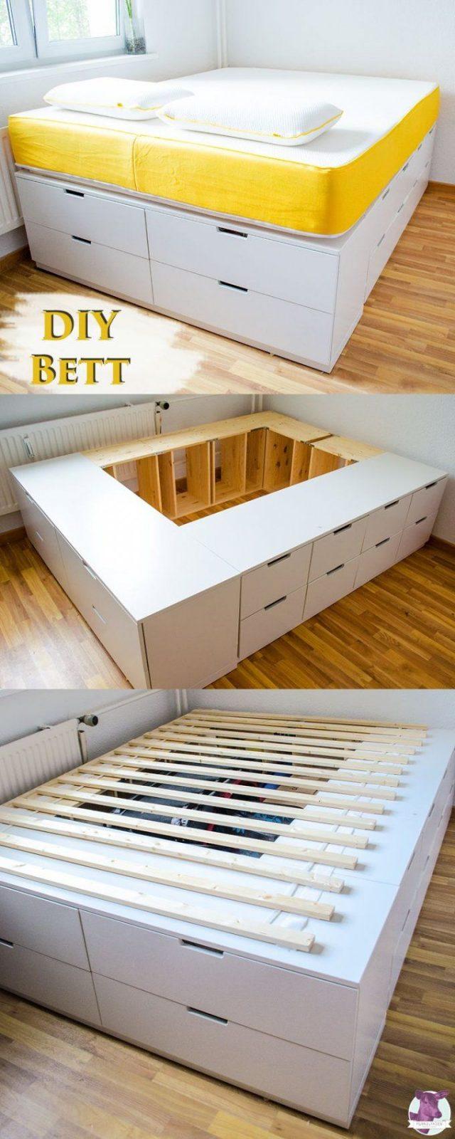 Diy Ikea Hack  Plattformbett Selber Bauen Aus Ikea Kommoden von Bett Bauen Mit Stauraum Photo