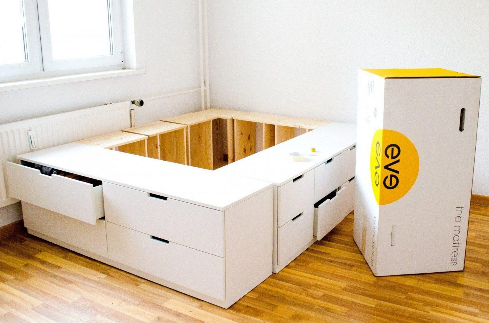 Diy Ikea Hack  Plattformbett Selber Bauen Aus Ikea Kommoden von Bett Selber Bauen Ikea Photo
