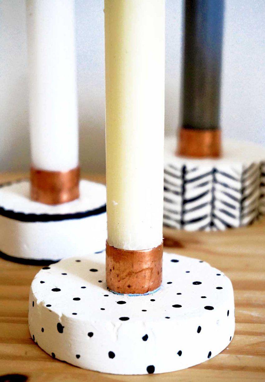 Diy Kerzenständer Aus Kupfer & Gips Selbermachen  Hejhurra von Holz Kerzenständer Selber Machen Photo