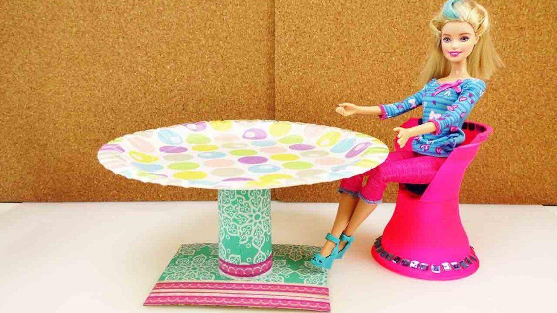 Diy Möbel Deutsch Runder Tisch Für Barbie Anleitung Zum Einfach Avec von Barbie Bett Selber Bauen Photo