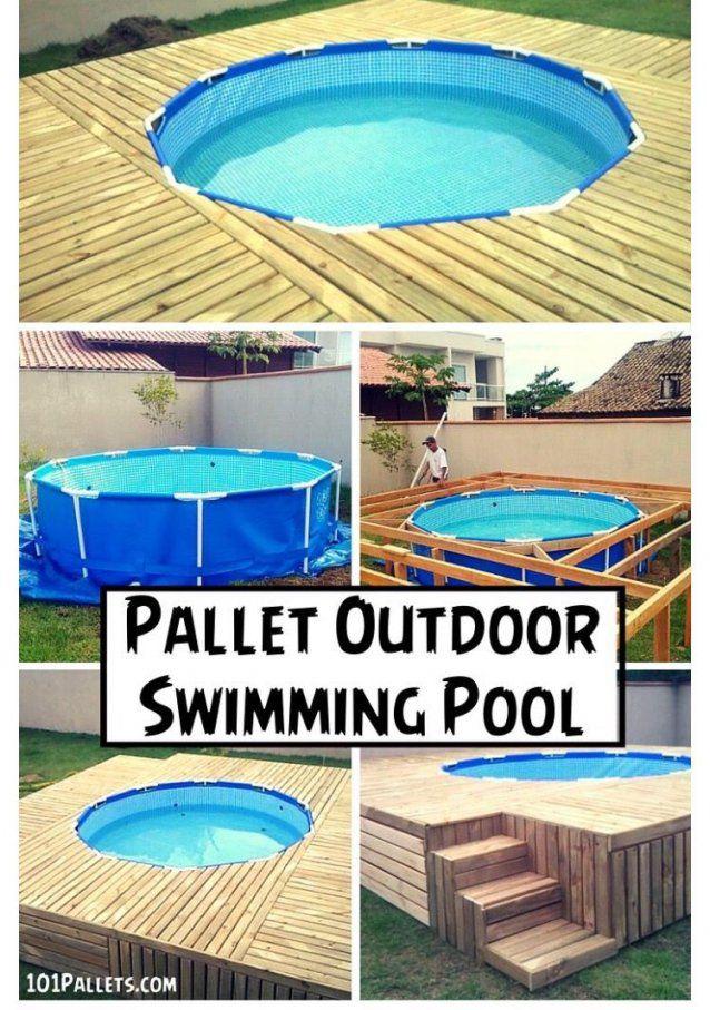 Diy Pool  Vorgarten  Pinterest von Pool Aus Paletten Bauen Bild
