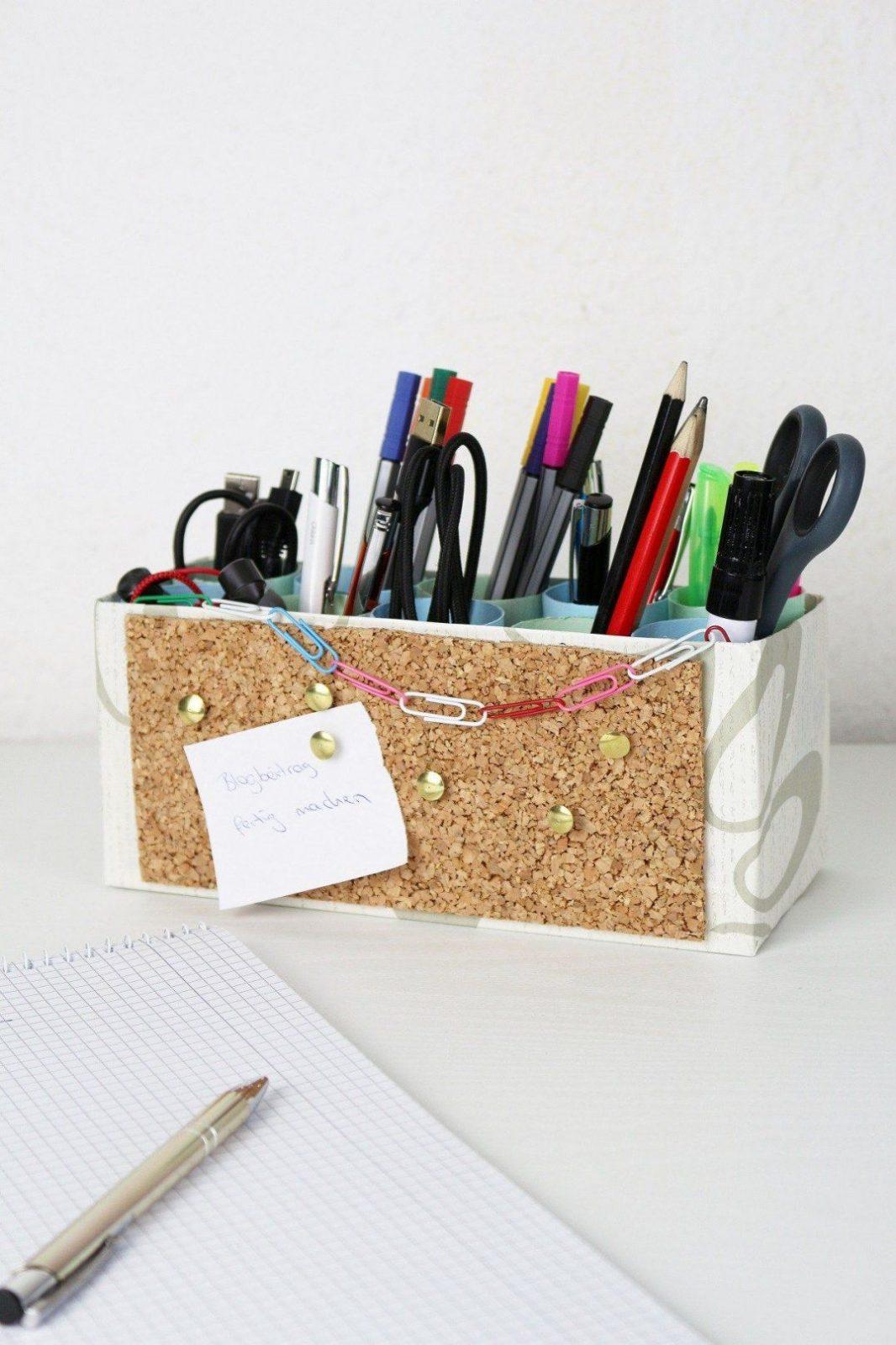 Diy Stiftehalter Mit Integrierter Pinnwand Selber Machen von Stiftehalter Holz Selber Bauen Bild