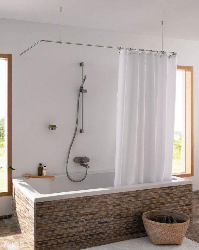 Duschvorhangstange Aus Edelstahl (Cns) Für Badewanne + Dusche von Duschvorhang Halterung Für Badewanne Bild