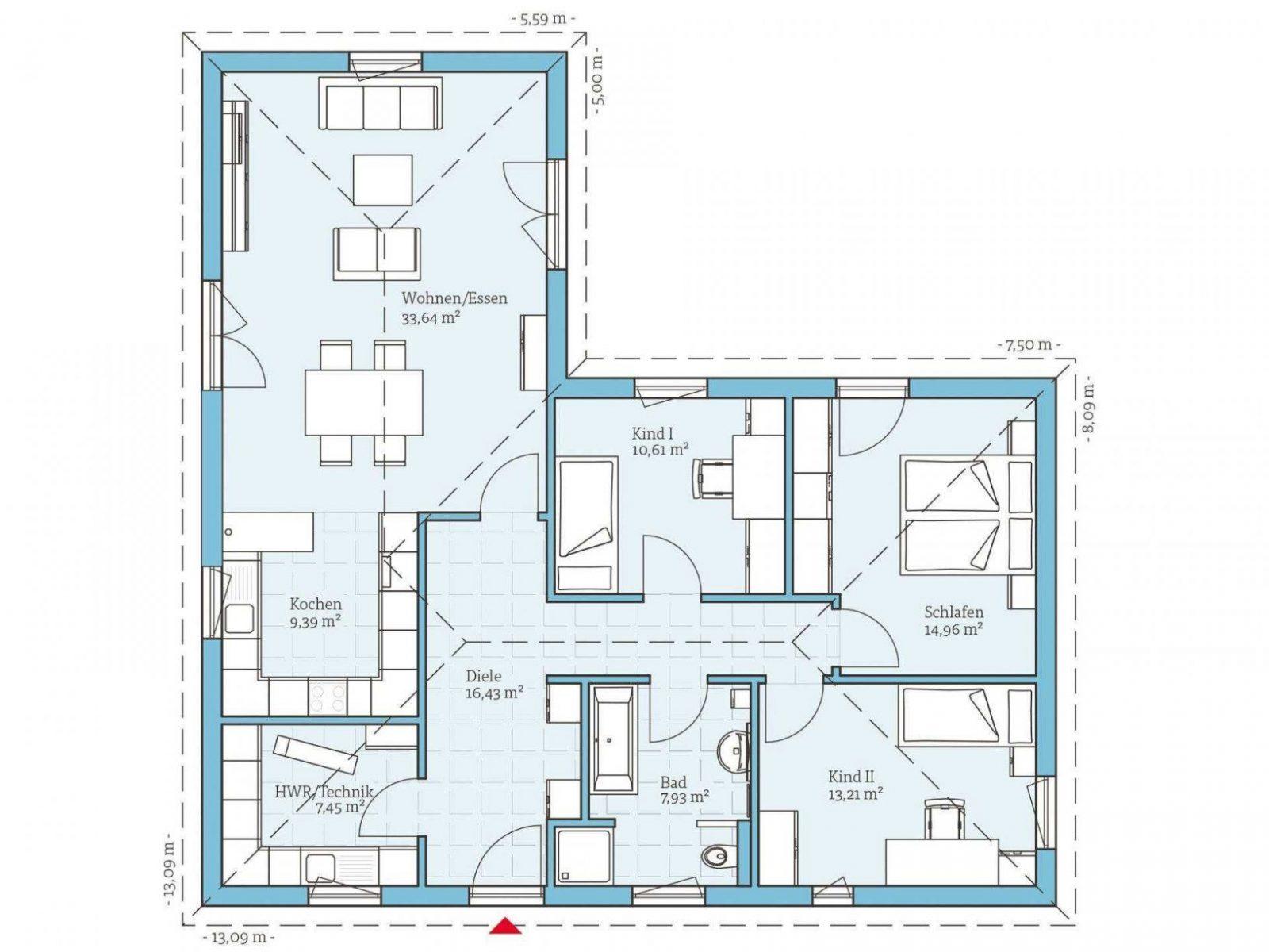 ▷ Bungalow Bauen  Anbieter Preise & Grundrisse Im Überblick von Grundriss Bungalow L Form Bild