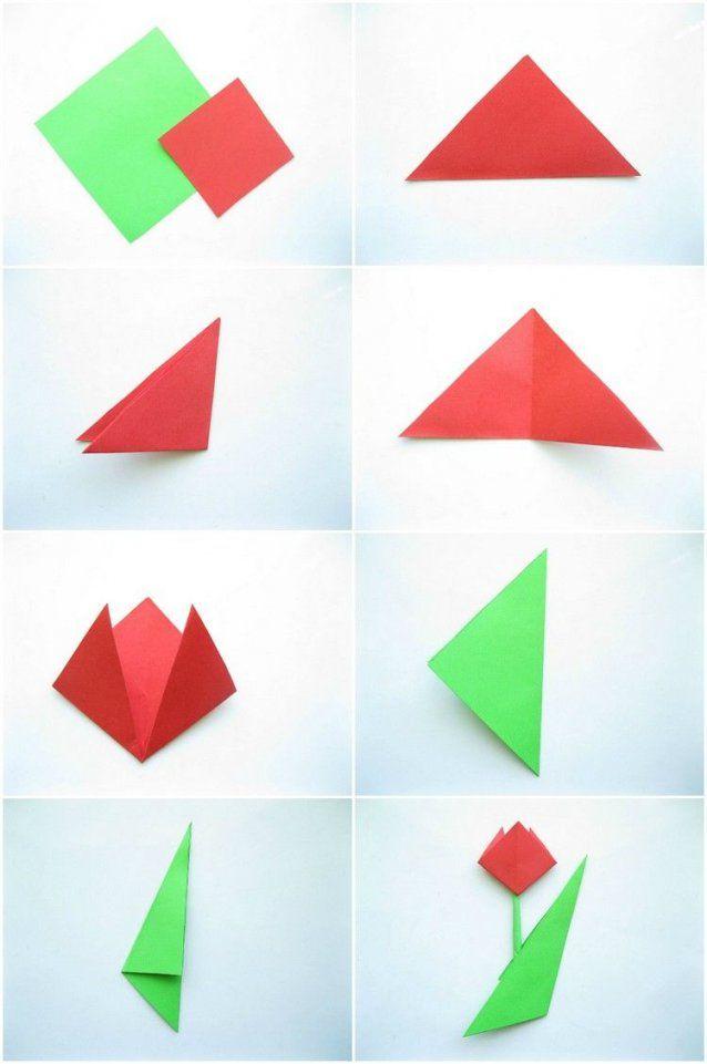 Einfache Origami Tulpe Falten Mit Kindern  Schule  Pinterest von Einfache Blumen Falten Anleitung Photo