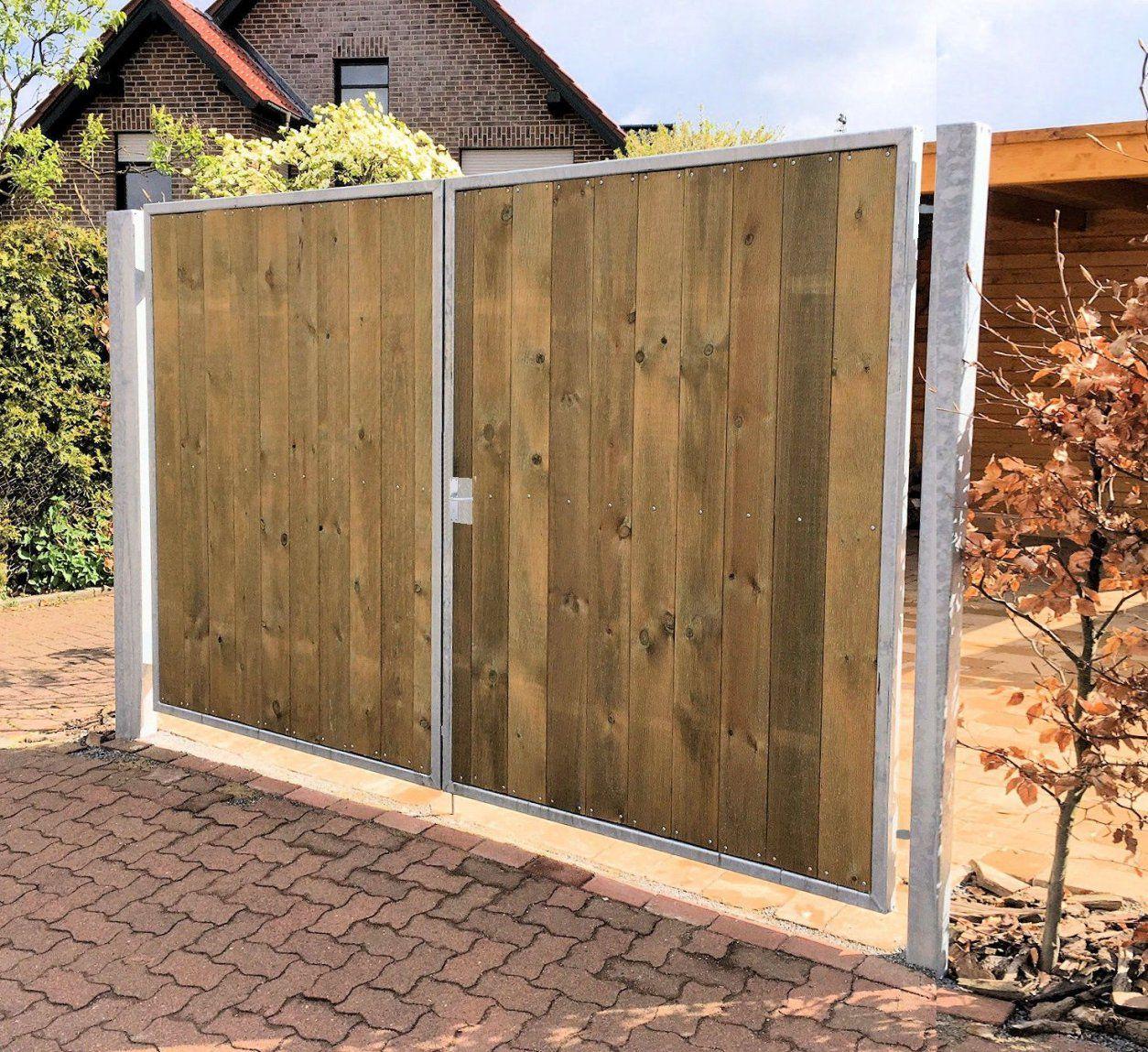 Einfahrtstor 200 X 180Cm 2Flügelig Verzinkt + Holz Tor Gartentor von Gartentor Aus Holz Bauen Photo