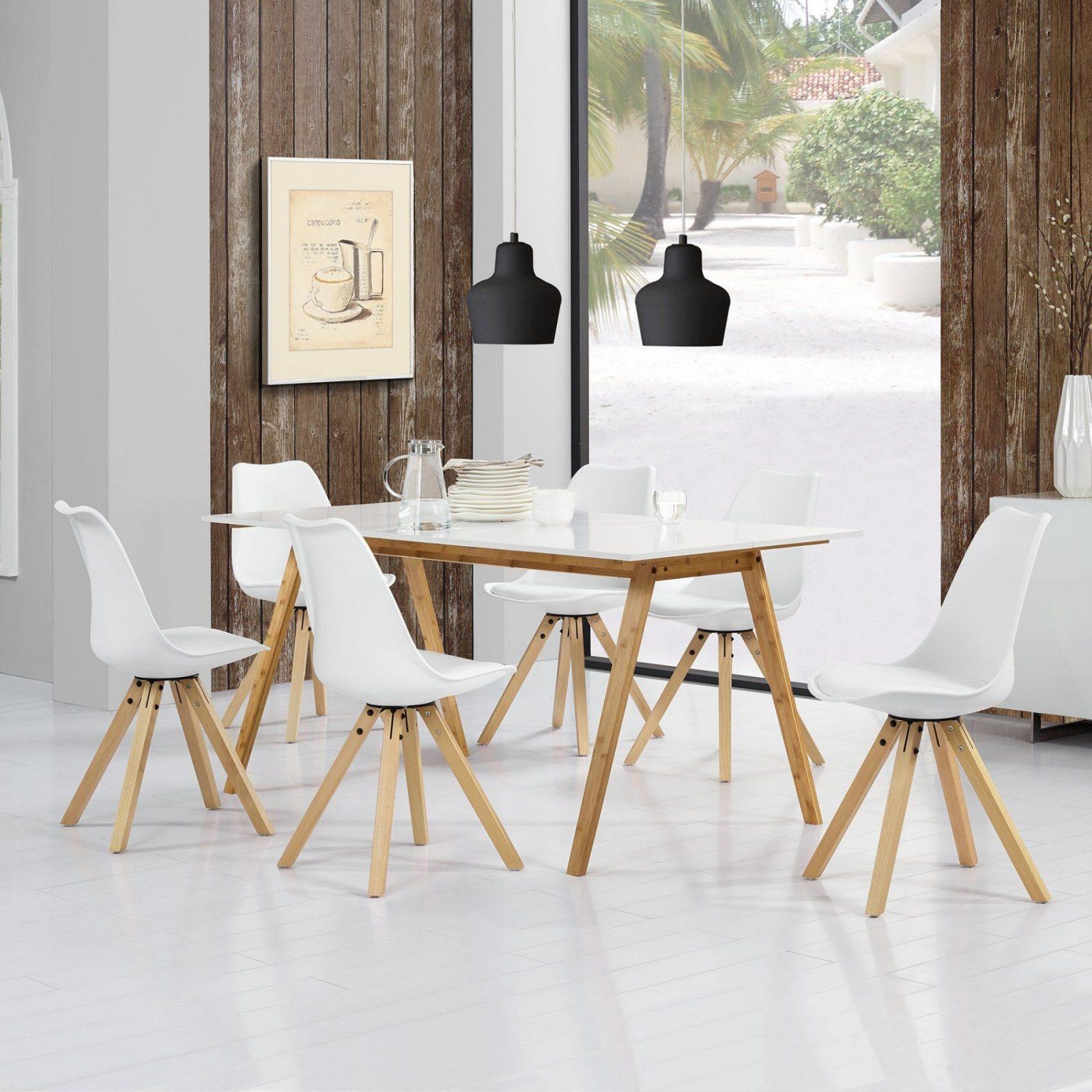 Encasa]® Esstisch Bambus Mit 6 Stühlen Gepolstert Weiß Tisch von Tisch Und Stühle Für Küche Bild