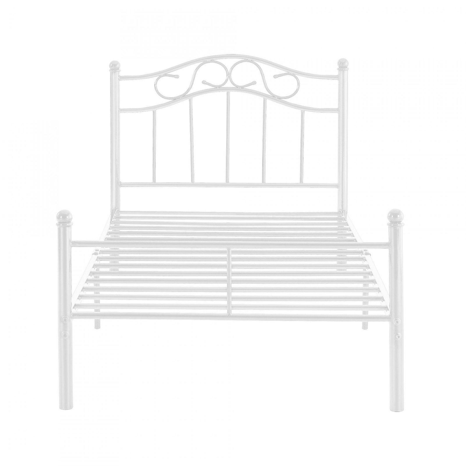 Encasa]® Metallbett 90X200 Weiß Bettgestell Bett Schlafzimmer von Bett Metall Weiß 90X200 Bild