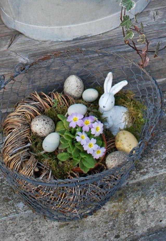 Frühlingsdekobastelnmitnaturmaterialienbestdrahtkorbeier von Frühlingsdeko Basteln Mit Naturmaterialien Bild