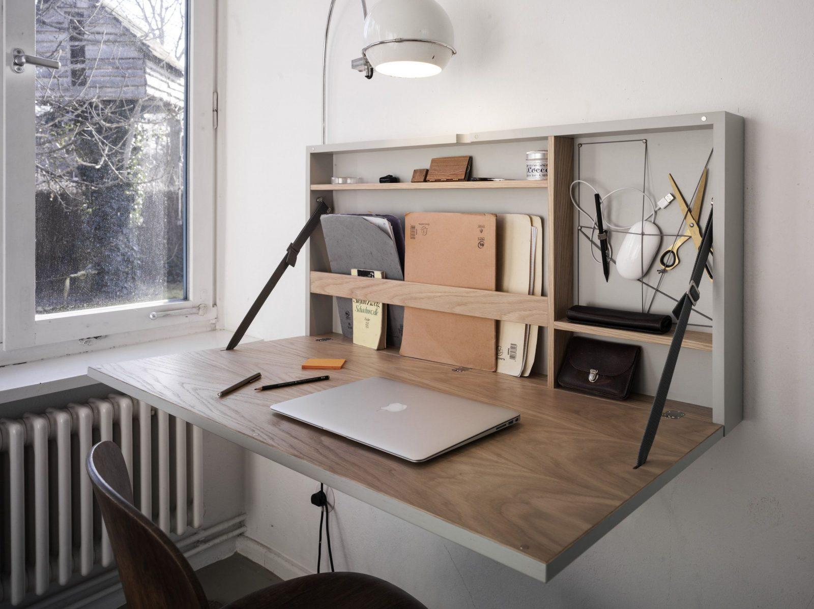 Funktional Geräumig Edeler Schreibtisch Der Platz Spart von Schreibtisch Für Wenig Platz Bild