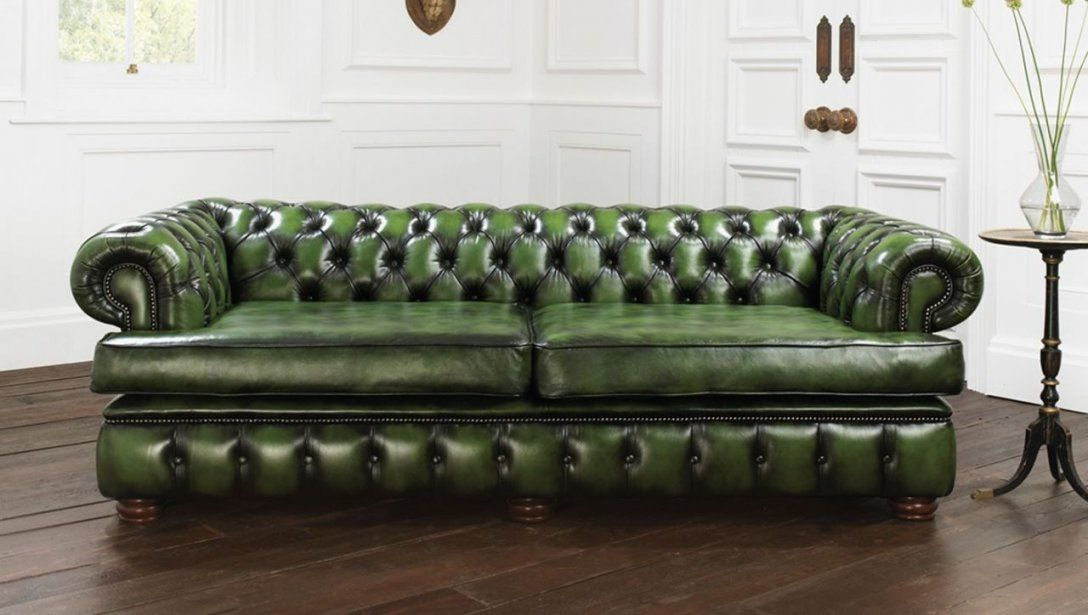 Furniture Incredible Furniture For Living Room Decoration Using von Green Leather Chesterfield Sofa Bild