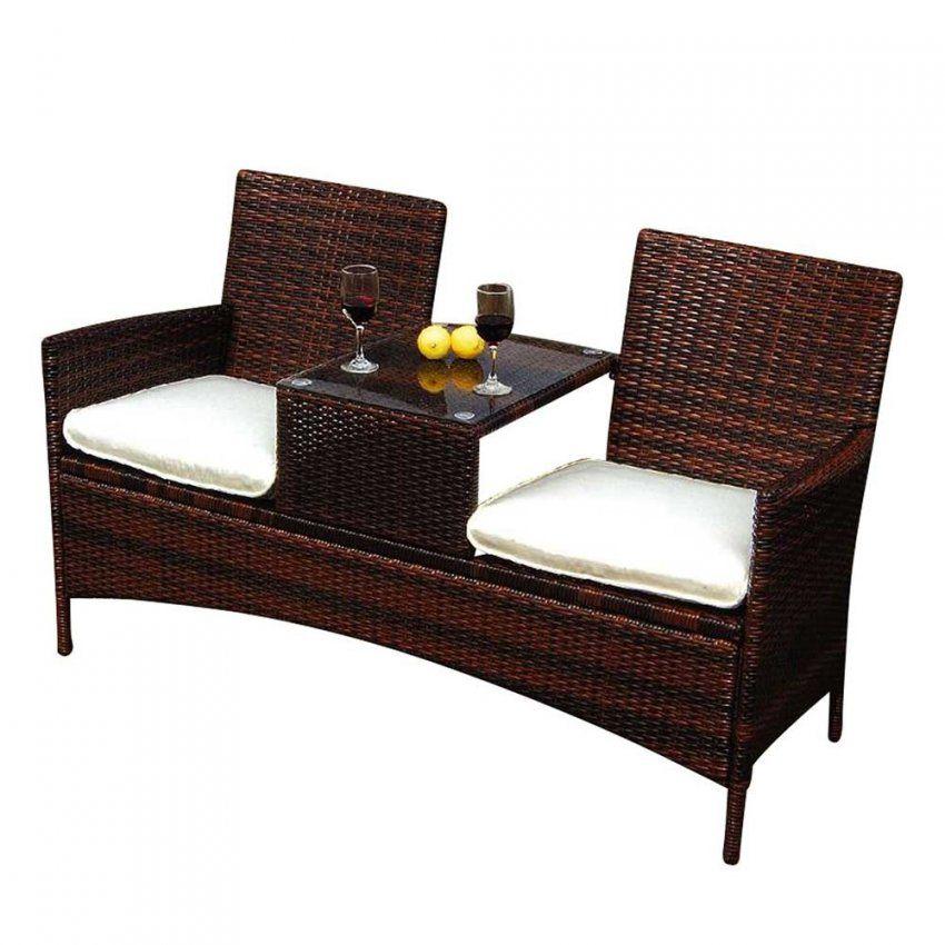 Garten Doppelbank Vicetro In Braun Mit Tisch  Pharao24 von Gartenbank Mit Integriertem Tisch Photo