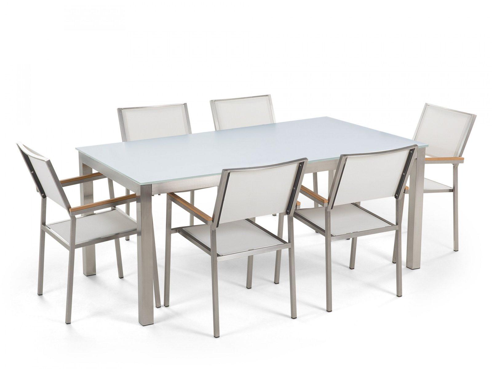 Gartenmöbel Set Glasplatte Weiss 180 X 90 Cm 6Sitzer Stühle von Gartentisch Mit 6 Stühlen Photo