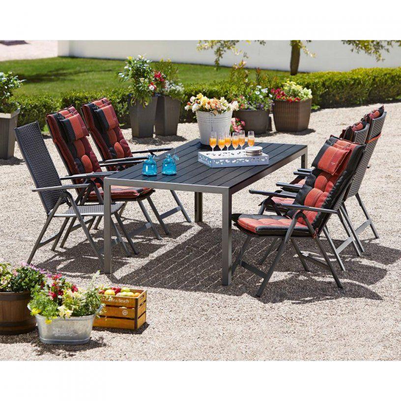 Gartenmöbelset Las Vegaspasadena (100X205 6 Stühle Schwarz von Gartentisch Mit 6 Stühlen Bild