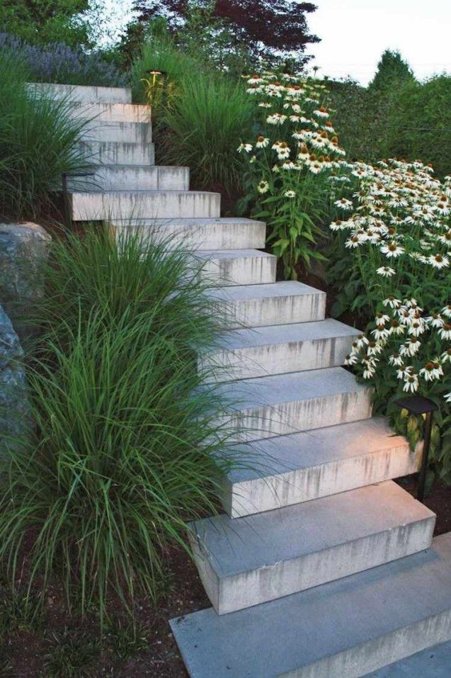Gartentreppe Mit Versetzten Stufen Aus Beton  Garten  Pinterest von Gartentreppe Selber Bauen Naturstein Bild