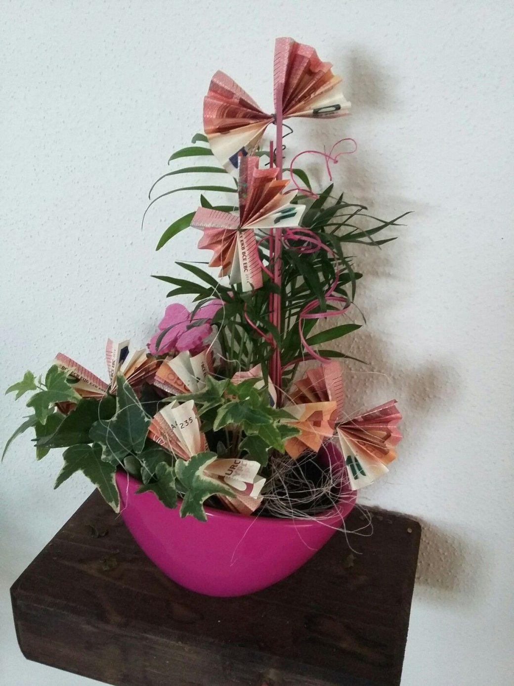 Geldgeschenk  Blumen Mit Geldschmetterlingen  Geschenkideen von Geldgeschenk Blume Im Topf Photo
