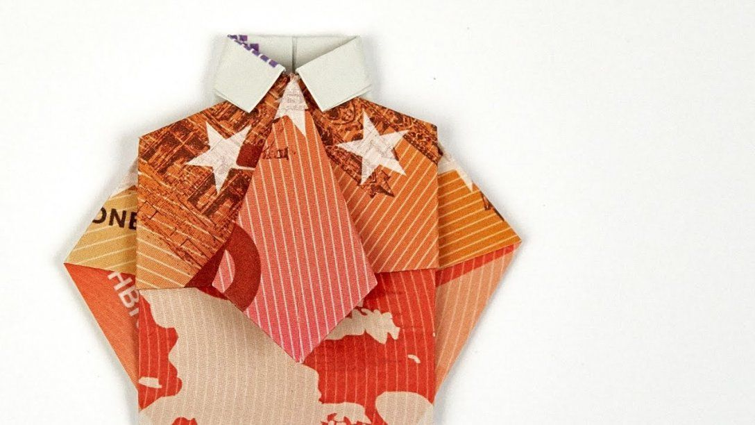Geldschein Falten Hemd Mit Krawatte Geldgeschenke Hochzeit 4K von Origami Hemd Mit Krawatte Bild