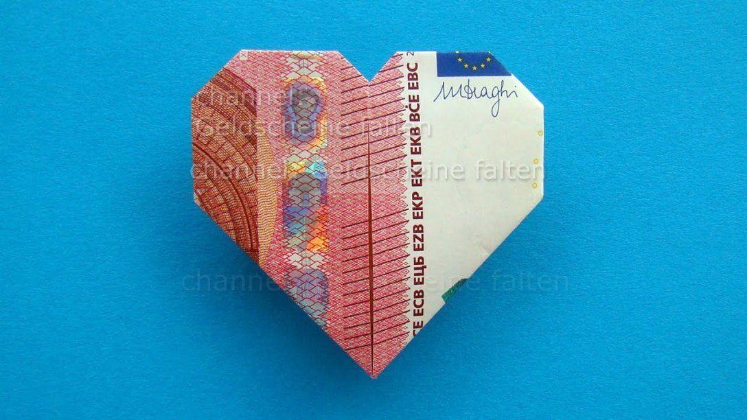 Geldscheine Falten Herz ❤ Leichte Origami Herz Aus Geld Falten von Geldschein Als Herz Falten Bild