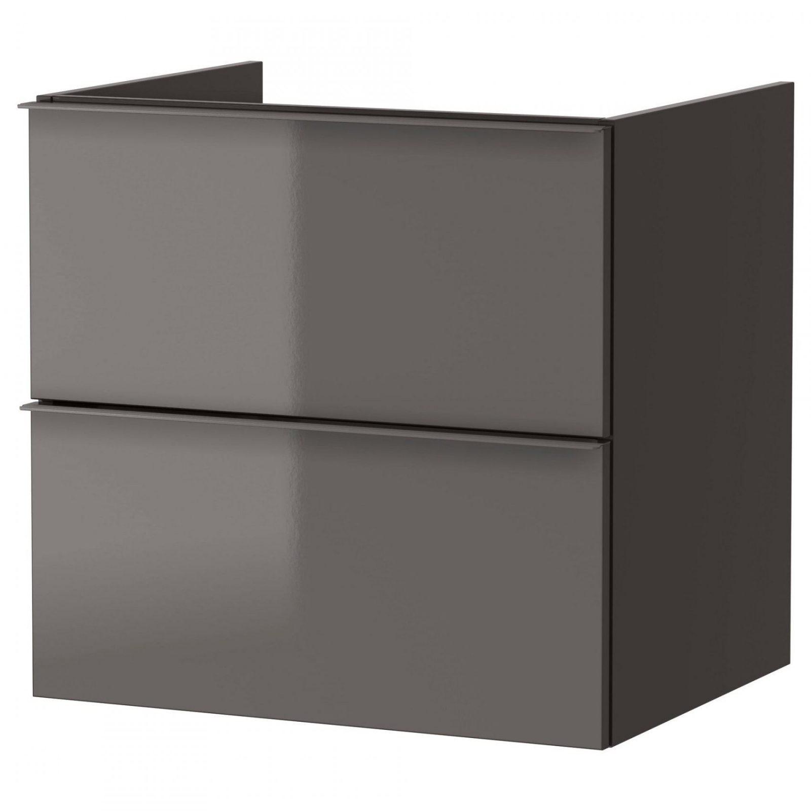 Godmorgon Kast Voor Wastafel Met 2 Lades Hoogglans Grijs 60X47X58 Cm von Spülenunterschrank 50 Cm Ikea Bild