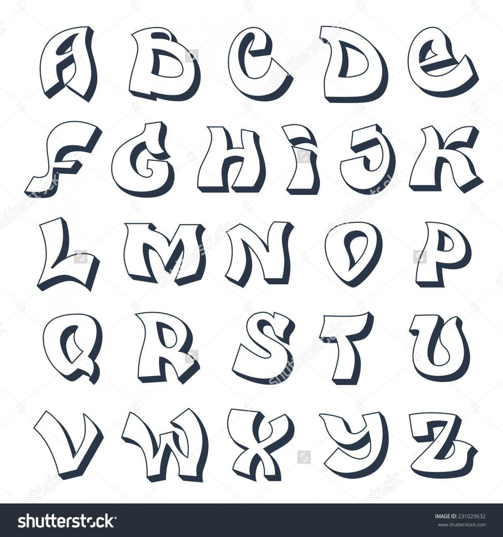 Graffiti Abc Vorlagen Graffiti Alphabet Cool Street Style Font In von Graffiti Buchstaben Vorlagen Az Bild